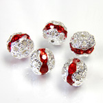Filigree Rhinestone Ball with Center Line Crystals - 08MM LT SIAM RUBY-SILVER