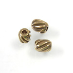 Brass Bead - Lead Safe Machine Made Ribbed Oval 06x5MM RAW BRASS