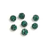 Rhinestone Bead Pave with 1.0MM Hole Metal Base Round 06MM EMERALD