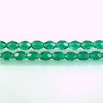Czech Glass Fire Polish Bead - Oval 06x4MM DK EMERALD