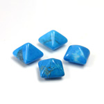 Gemstone Cabochon - Square Pyramid Top 08x8MM HOWLITE DYED TURQUOISE