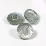 Glass Button - Engraved Top Foiled Round 18MM CRYSTAL