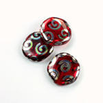 Czech Pressed Glass Bead - Smooth Flat Coin 19MM PEACOCK RUBY
