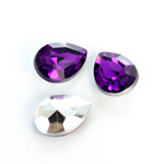 Plastic Point Back Foiled Stone - Pear 18x13MM AMETHYST
