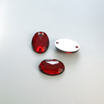 Plastic Flat Back 2-Hole Foiled Sew-On Stone - Oval 14x10MM RUBY