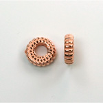 Metalized Plastic Bead - Ribbed Round Spacer 10.5MM COPPER