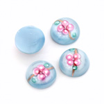 Glass Medium Dome Lampwork Cabochon - Round 13MM PINK ON AQUA (04866)