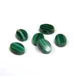 Gemstone Flat Back Single Bevel Buff Top Stone - Oval 08x6MM MALACHITE