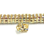 Czech Rhinestone Rondelle - Square 04.5MM CRYSTAL AB-GOLD