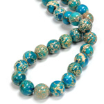 Gemstone Bead - Smooth Round 10MM SEA SEDIMENT JASPER DYED TURQUOISE