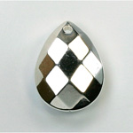 Metalized Plastic Pendant- Faceted Drop 26x2MM0MM SILVER