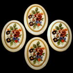 German Plastic Porcelain Decal Painting - Flower - Bouquet (2036) Oval 40x30MM IVORY