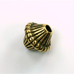 Metalized Plastic Bead - Ribbed Bicone 19x16MM ANT GOLD