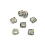 Czech Pressed Glass Bead - Smooth Flat Square 06x6MM PEACOCK MATTE CRYSTAL