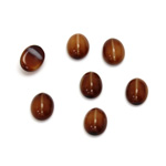 Glass Medium Dome Cabochon - Oval 08x6MM CAT'S EYE BROWNHORN