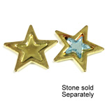 Brass Stamped Setting  - Star with 6mm Recess RAW