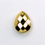 Metalized Plastic Pendant- Faceted Drop 18x14MM GOLD