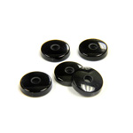 Gemstone Flat Back Single Bevel Buff Top Drilled Stone Round 09MM BLACK ONYX