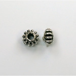 Metalized Plastic Bead - Ribbed Spacer 08MM ANT SILVER