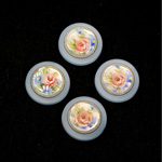 German Plastic Porcelain Decal Painting - Flowers (2051) Round 18MM MATTE CRYSTAL ON MATTE LIGHT SAPPHIRE