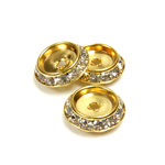 Czech Rhinestone Rondelle Shrag Flat Back Setting - Round 15MM outside with 9mm Recess CRYSTAL-GOLD