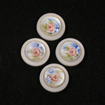 German Plastic Porcelain Decal Painting - Flowers (2051) Round 18MM MATTE CRYSTAL ON MATTE CRYSTAL