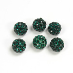 Rhinestone Bead Pave with 1.5MM Hole Metal Base Round 08MM EMERALD