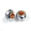 Glass Faceted Bead with Large Hole Copper Plated Center - Round 14x9MM GUNMETAL COATED