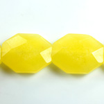 Gemstone Bead - Faceted Octagon 25x20MM Dyed QUARTZ Col. 08 YELLOW