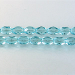 Czech Glass Fire Polish Bead - Oval 07x5MM AQUA
