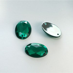 Plastic Flat Back 2-Hole Foiled Sew-On Stone - Oval 18x13MM EMERALD