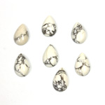 Gemstone Cabochon - Pear 10x6MM WHITE HOWLITE