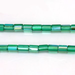 Czech Glass Fire Polished Bead - Atlas 06x4MM EMERALD AB