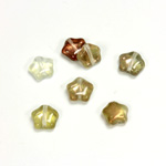 Czech Pressed Glass Bead - Star 08MM CRYSTAL-COPPER