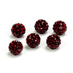 Rhinestone Bead Pave with 1.5MM Hole Metal Base Round 08MM GARNET