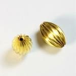 Brass Corrugated Bead - Fancy Melon Oval 16x11MM RAW