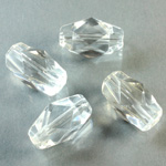 Plastic Bead -  Faceted Fancy Stone 18x10MM CRYSTAL
