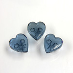 German Glass Flat Back Reverse Carved Intaglio Back 2 Rose Heart 12x11MM MONTANA