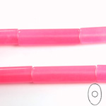 Gemstone Bead - Oval Cylinder 30x8MM Dyed QUARTZ Col. 27 ROSE