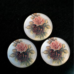 German Plastic Porcelain Decal Painting - 2 Roses (2094) Round 35MM MATTE CRYSTAL