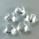 German Plastic Bead - Transparent Faceted Heart 12MM CRYSTAL