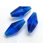 Plastic Bead -  Faceted Elongated Bicone 25x12MM SAPPHIRE