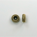 Metalized Plastic Bead - Ribbed Round Spacer 08MM ANT GOLD
