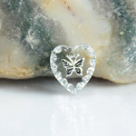 German Glass Engraved Buff Top Intaglio Pendant - Butterfly Heart 12x11MM CRYSTAL SILVER