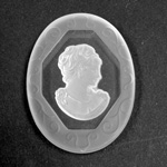 German German Glass Flat Back Reverse Carved Intaglio Back Woman's Head - Oval 40x30MM MATTE CRYSTAL