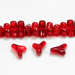 Czech Pressed Glass Bead -Tri-Y 11x9MM RUBY