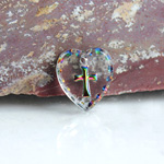 German Glass Engraved Buff Top Intaglio Pendant - Cross Heart Shape 12x11MM CRYSTAL HELIO RED