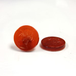 Glass Flat Back Intaglio - Warrior Head Round 15MM CORNELIAN Left Facing