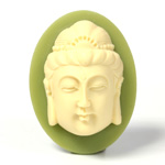Plastic Cameo - Buddha Oval 40x30MM IVORY ON OLIVE GREEN