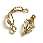 Brass Bead Cage Pendant with Loop - Pear 24x10MM RAW Unplated